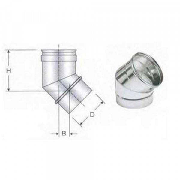 Curva 45° acciaio AISI 316 250mm Polymaxacciai