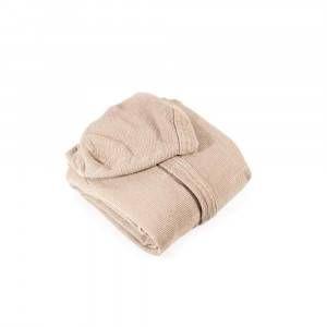 Accappatoio ultraleggero color sabbia con cappuccio Somma