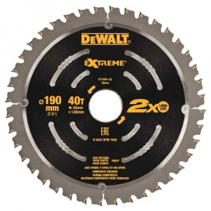 Lama circolare per legno Extreme 190mm DT4394 DeWalt