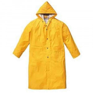 Impermeabile a cappotto in PVC giallo FT