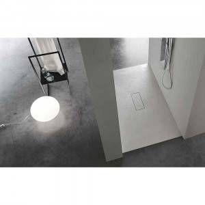 Piatto doccia bianco effetto pietra con piletta 80x120 AC1373 Stone V Agha