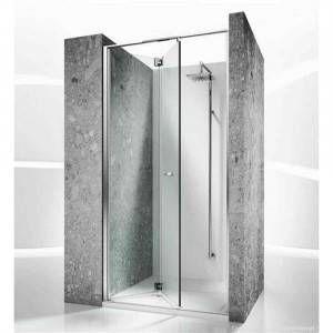 Cabina doccia senza telaio con porta pieghevole e serigrafia apertura DX Replay RN Vismara Vetro