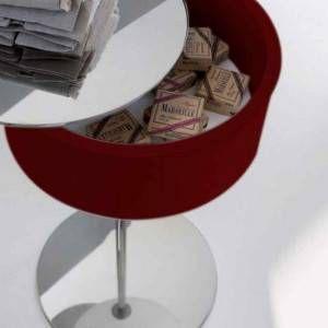 Tavolino porta oggetti con specchio rosso One-Two Arlex