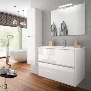 Mobile da Bagno con specchio e applique Noja 900 Bianco Lucido Salgar