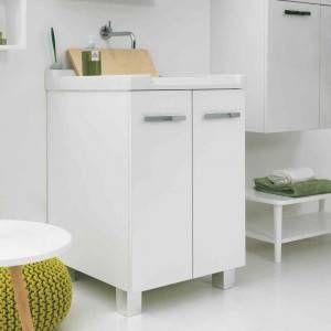Pilozzo finitura tela bianco 60x50 con mobile QLM6050MB Acquaceramica Colavene