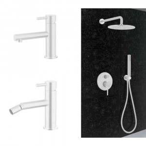 Kit miscelatore lavabo MN20 + bidet MN30 + kit doccia MN14009/25 linea Minimal bianco opaco Keller Taps