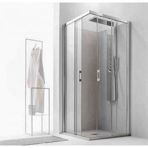 Box doccia lato scorrevole sinistro finiture argento lucido cristallo trasparente MG1128 Magoo Agha