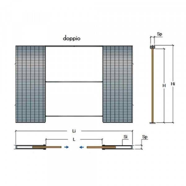 Controtelaio anta doppia per muro spessore 125mm doortech - Porte scorrevoli doppia anta ...